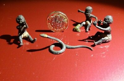 Rare set of Antique Miniature Cold Painted Bronze Snake Charmer Figures