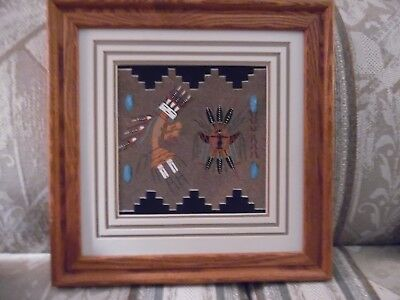 Native American Authentic Navajo Rainbo Yei Indian Sand Painting Framed