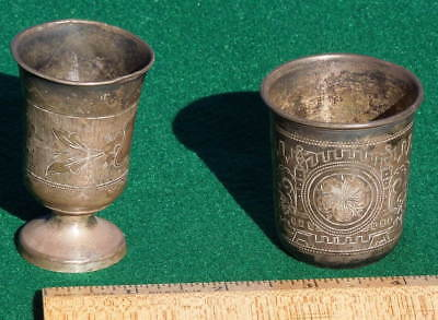 2 Antique Russian Engraved Silver '84' Cups, Shot Glass, Hallmark, 1885 & 1890