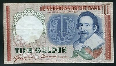 Weeda Netherlands, Amsterdam March 1953 10 gulden banknote serial 2PF083762