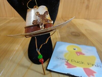 """Cowboy Hat Christmas Ornament 4"""" White Metal Beaded String Gold Star Western"""