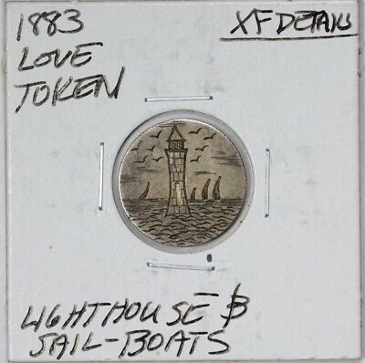 1883 Love Token Lighthouse and Sail-Boats XF Details