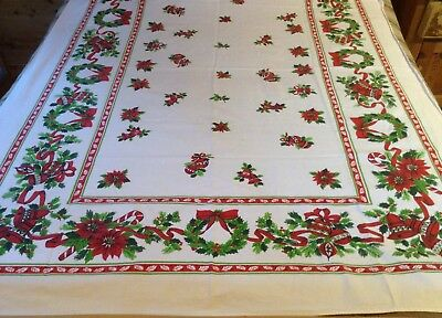 Vintage Christmas Tablecloth Candy Canes Ornaments Bells Wreaths Holly Wilendur
