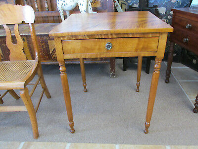 S25 ANTIQUE one drawer STAND TABLE NIGHTSTAND TURNED LEGS tiger maple top birch