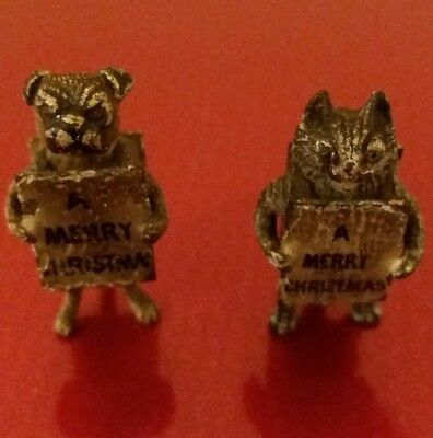 Rare pair of Vintage Cold Painted  Bronze Figures Cat & Dog Xmas Theme