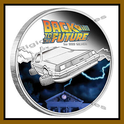 "Tuvalu 1 Dollar Silver Proof Coin, 1 oz 2015 ""De Lorean"" Back to the Future"