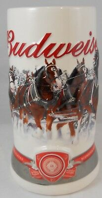 Holiday Budweiser Beer Mug Stein Clydesdales Strength and Beauty Christmas 2011