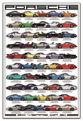 Porsche Poster ~ 50 Years of 911 ~ Large Print ~ Great Gift! Images are perfect!
