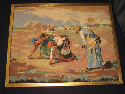 """A+ Vintage 20"""" X 17"""" Needlepoint """"seed Sowers Farming Cross Stitch Embroidery"""
