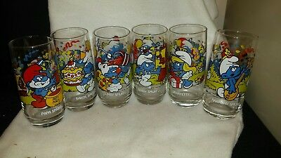 Smurf Glasses ( 1983 ).Set of 6. Papa, Baker, Clumsy, Handy, Smurfette, and...