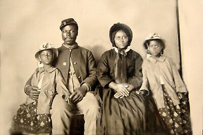 1863-Civil War-African American Soldier with Wife & Daughters-Only known Family