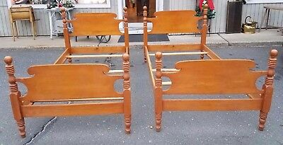 Vintage CannonBall Twin Bed Frames~ Solid Maple!~Set of 2 Beds! USA Circa 1950's