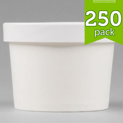 12 oz. Take-out White Paper Soup Hot Food Cup with Vented Paper Lid - 250/Case
