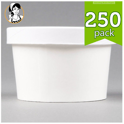 8 oz. Take-out White Paper Soup Hot Food Cup with Vented Paper Lid - 250/Case