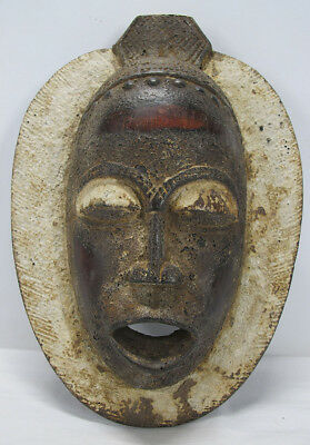 Antique African Baule Tribal Hand Carved & Painted Wood Mask Côte d'Ivoire yqz