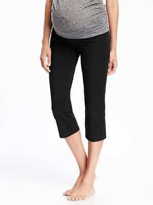 Old Navy Maternity Roll-Panel Yoga Capris in Black ~ NWT ~ Size Large L