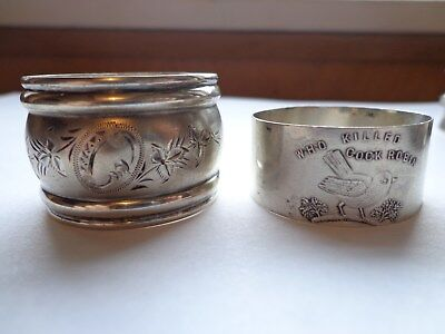 """Antique Sterling Napkin Ring"""" Who Killed Cock Robin Nursery Rhyme Bird"""" &1 other"""