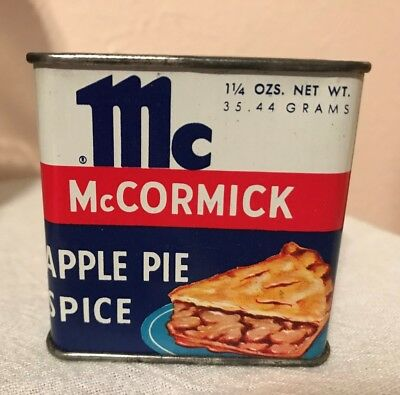 "VINTAGE  McCORMICK  APPLE PIE SPICE TIN ""SLICE OF PIE"""