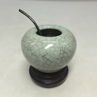 D656: Chinese porcelain water pot SUICHI of KANYO style with good wooden stand