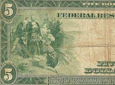 LARGE 1914 $5 DOLLAR BILL FEDERAL RESERVE NOTE BIG CURRENCY PAPER MONEY Fr 847A