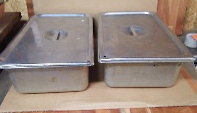 "2 Vollrath Stainless Steel Pans Full Size, 6"" Deep Steam Table Pan with Lids"