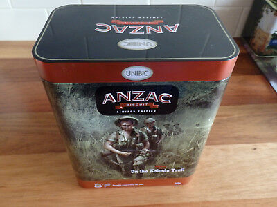 """Collectable Unibic Anzac biscuit tin .  """" On the Kokoda Trail """"."""