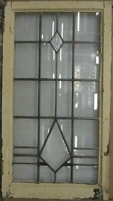 """LARGE OLD ENGLISH LEADED STAINED GLASS WINDOW Cute Diamonds 20"""" x 36.75"""""""