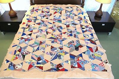 SMALL Vintage Feed Sack PIECED STARS Quilt TOP w/ Many Sugar Sack Prints on Back