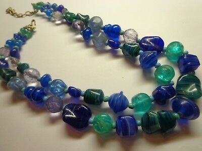 Vintage Venetian Glass Multi-Strand Necklace As Is 16 In At Longest