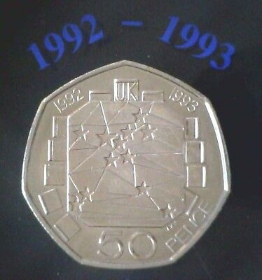 1992-1993 UK Elizabeth II Silver Proof 50 Pence Coin - From the Royal Mint
