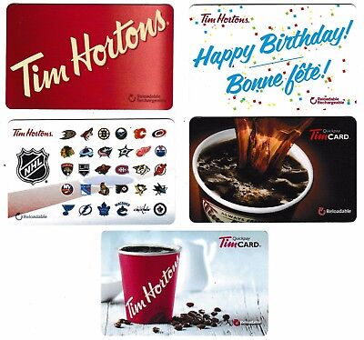 4 collectible TIM HORTONS HORTON'S gift card Canada NHL Happy Birthday Coffee
