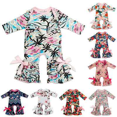 Baby Girls Romper Kids Xmas Gift Clothes Newborn Coming Home Outfit Floral Bow