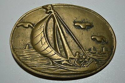 Vintage Solid Brass 1970s Sailing Boating Nautical Ocean Seagulls Belt Buckle