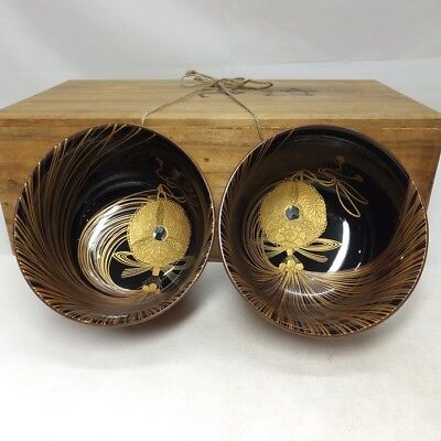 D895: Japanese OLD lacquerware pair of bowl with fantastic MAKIE of fine design