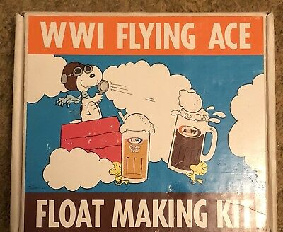 Vintage A&W Snoopy WWI Flying Ace Float Making Kit Glass Mugs Peanuts 1971 Rare
