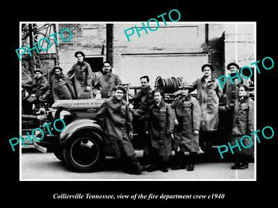 OLD LARGE HISTORIC PHOTO OF COLLIERVILLE TENNESSEE, THE FIRE DEPARTMENT c1940