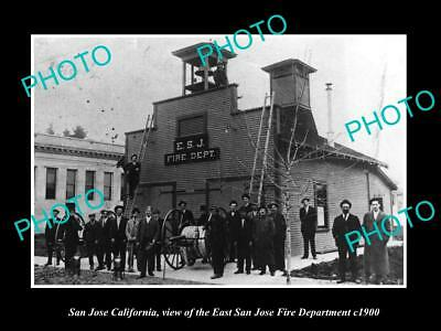 OLD LARGE HISTORIC PHOTO OF SAN JOSE CALIFORNIA, THE EAST S/J FIRE STATION c1900
