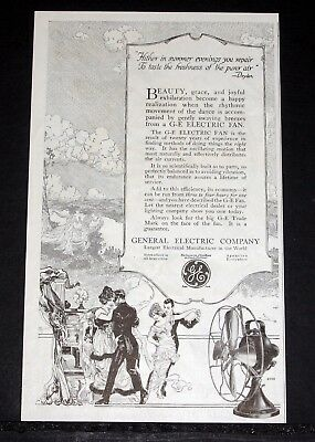 1914 Old Magazine Print Ad, General Electric, G-E Fan, 20 Years Of Experience!
