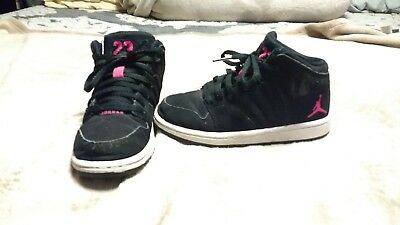 Nike Air Jordan Girls 11C Black Pink High Tops Shoes Sneakers