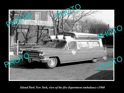 OLD LARGE HISTORIC PHOTO OF ISLAND PARK NEW YORK FIRE DEPARTMENT AMBULANCE c1960
