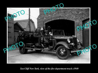 OLD LARGE HISTORIC PHOTO OF SEA CLIFF NEW YORK FIRE DEPARTMENT TRUCK c1940