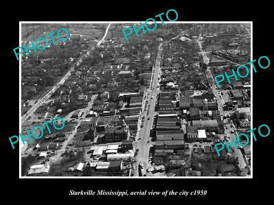 OLD LARGE HISTORIC PHOTO OF STARKVILLE MISSISSIPPI, AERIAL VIEW OF CITY c1950