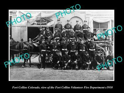 OLD LARGE HISTORIC PHOTO OF FORT COLLINS COLORADO FIRE DEPARTMENT TEAM c1910