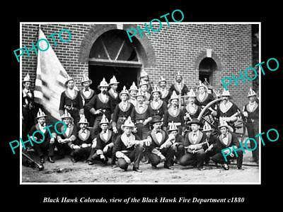 OLD LARGE HISTORIC PHOTO OF BLACKHAWK COLORADO, THE FIRE DEPARTMENT CREW c1880