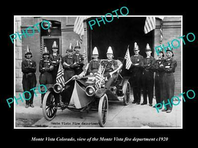 OLD LARGE HISTORIC PHOTO OF MONTE VISTA COLORADO, THE FIRE DEPARTMENT TEAM c1920
