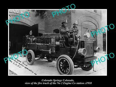 OLD LARGE HISTORIC PHOTO OF COLORADO SPRINGS FIRE DEPARTMENT STATION TRUCK c1910