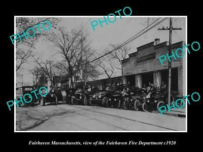 OLD LARGE HISTORIC PHOTO OF FAIRHAVEN MASSACHUSETTS, THE FIRE DEPARTMENT c1920