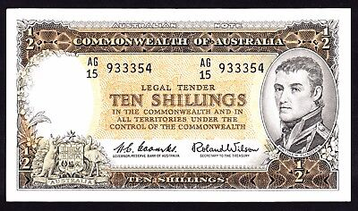 Australia 10 Shillings ND 1961 Coombs Wilson R 17 aEF Note AG15 933354