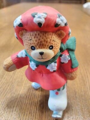 1980's Enesco Lucy Rigg Lucy and Me Girl Bear Ice Skating