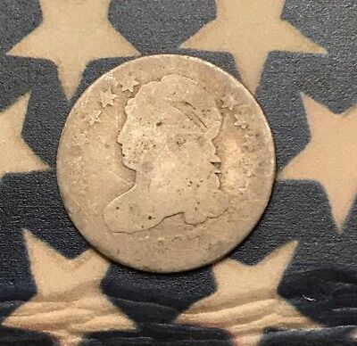 1827 10C Capped Bust Dime 90% Silver Vintage US Coin #FH37